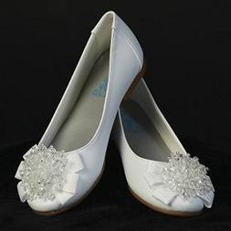 Girls Flats with Crystal Bead Bow