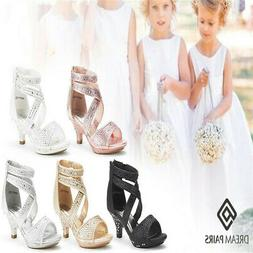 DREAM PAIRS Flower Girl's New Sweety Low Heel Zipper Wedding