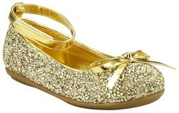 Flower Girl's Sparkly Gold or Silver Party Dress Shoes Toddl