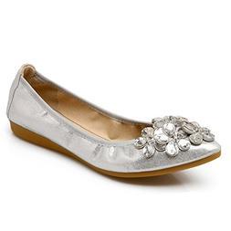 Meeshine Womens Foldable Soft Pointed Toe Ballet Flats Rhine