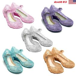 Frozen Princess Cosplay Dress Up Party Sandals Crystal Shoes