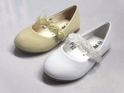 Girl Dress Flats w/ Flowers  Toddler Pageant Flower Girls Wh