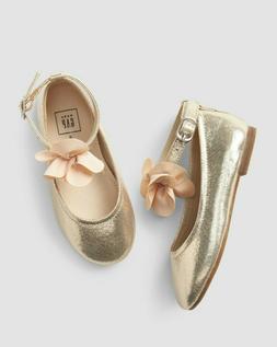 Baby Gap Girl's Metallic Gold Ankle Flower Ballet Flat Shoes