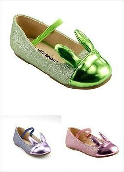 Girl's Party Dress Flat Shoes Shiny Glitter Rabbit Ear Bunny