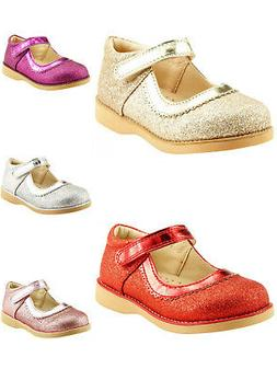 Girl's Party Dress Shoes Mary Jane Glitter Gold or Red Color