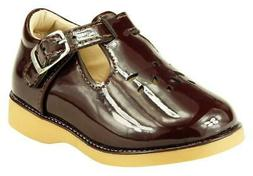 Girl's School Dress Classic Shoes Glossy Brown T Strap Mary