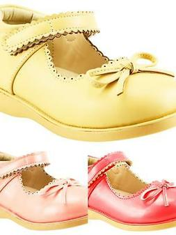 Girl's School Dress Comfy Shoes Mary Jane w bow Toddler size