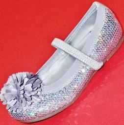 Girl's Toddler SONOMA IZZIE Silver Sequin Pom Pom Mary Jane