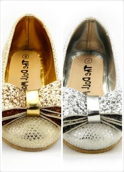 Girl's Wedding Party Shoes Sparkling Metallic Silver or Gold
