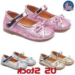 girls toddler princess shoes kids bowknot shiny