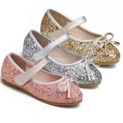 Glitter Party Wedding Bowknow Sandals Flats for Girls Kids D