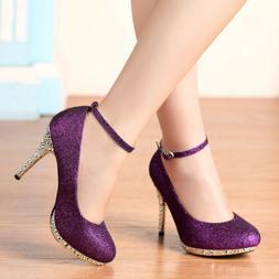 Glitter Straps Women Purple High Heels Buckle Dress Evening