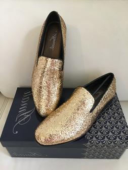 gold mens dress loafer slip on prom