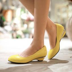 Grace Lady Low Wedge Heel Loafer Mary Jane Slip On Women Pum