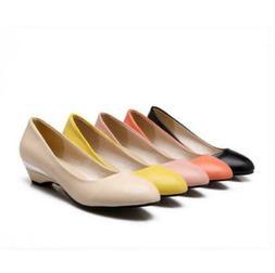 Grace Lady Low Wedge Heel LoaferMary Janes Slip On Womens Pu