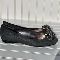 Calvin Klein Gray Flats Dress Casual Shoes Size 8 Silver Acc