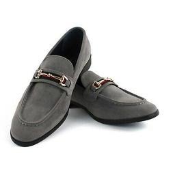 Gray Suede Buckle Slip On Moccasins  Men's Dress Fashion Sho