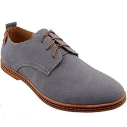 Dadawen Men's Grey Leather Oxford Shoe - 10 D US
