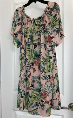 H&M Conscious Off the shoulder dress Powder pink/Floral prin