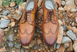 Handcrafted Genuine Leather Dress Shoes Wing Tip Casual Form