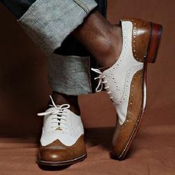 Handmade Mens Leather Shoes Two Tone Wingtip Brogue Dress Sh