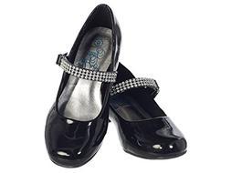 Girls Low Heel Girls Dress Shoe with Rhinestone Strap