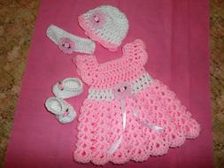 Handmade in USA Crochet baby girl Dress Headband shoes& hat,