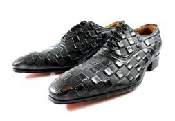 Ivan Troy Black Cube Handmade  Men Italian Leather Dress Sho