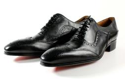 IVAN TROY Black Baki  Handmade Men Italian Leather Dress Sho