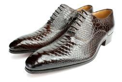 Ivan Troy Brown Crocodile Handmade Men Italian Leather Dress