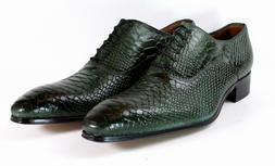 Ivan Troy Green Crocodile Handmade Men Italian Leather Dress