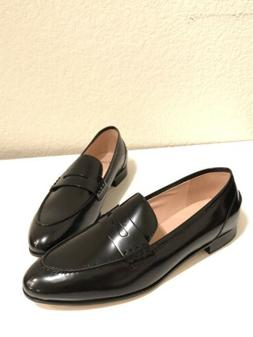JCrew Women Academy Penny Leather Loafers Dress Shoes BLACK