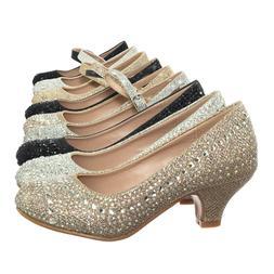 Jemma Children Girl Rhinestone Crystal Glitter Pump For Wedd
