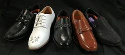 Jodano Collection Boys Dress Shoes WHITE/BLACK/COGNAC