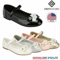 DREAM PAIRS Kids Girls Flat Shoes Toddler Shoes Wedding Prin
