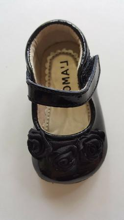 L'Amour Black Leather Dress Shoes for Baby - Size 0