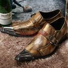 17 Men Retro Metal Pointed Toe Pieced Buckle Business Leathe
