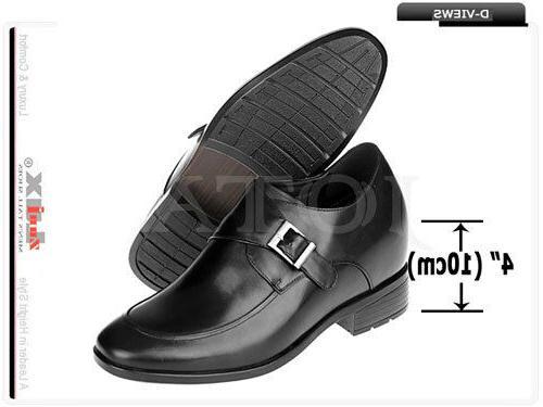 "4"" Height Increasing Elevator Shoes Leather Hidden High Heel"