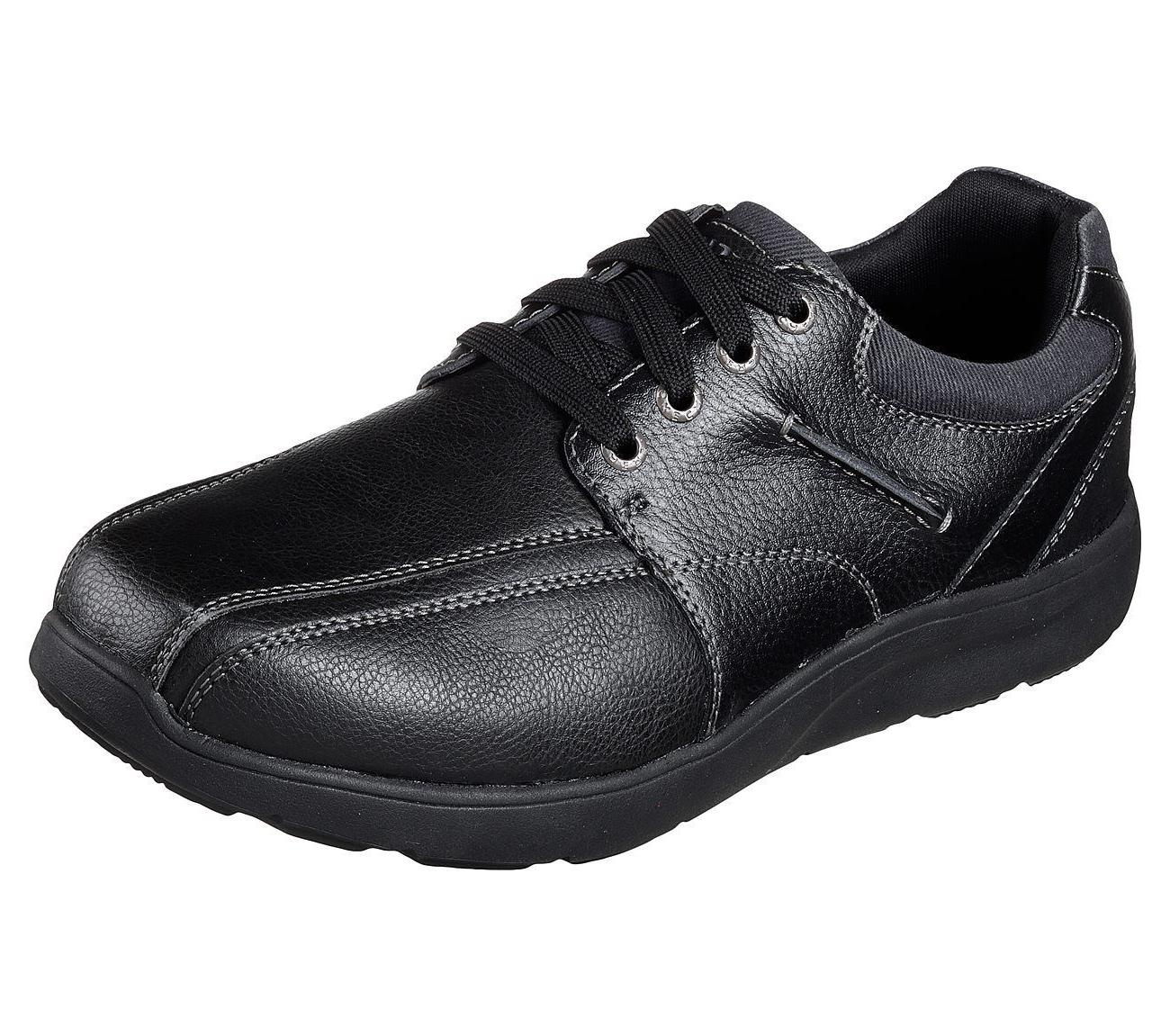 65327 black shoes men memory foam dress