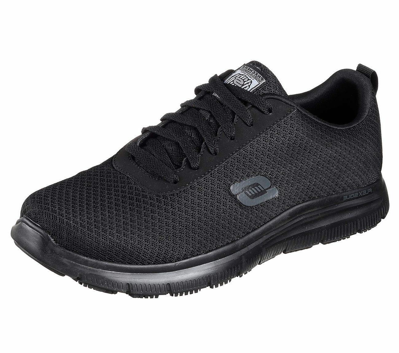 77125 black shoes work men comfort mesh