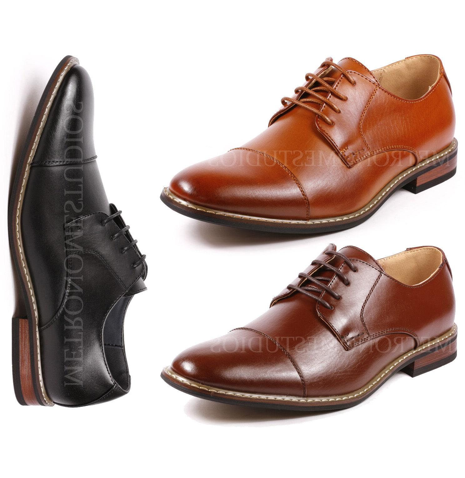 Metrocharm Alex-04 Men's Lace Up Cap Toe Oxford Dress Shoes