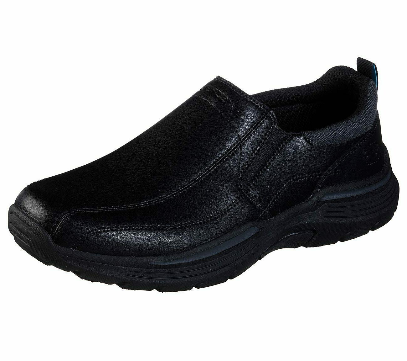 black shoes men memory foam loafer casual