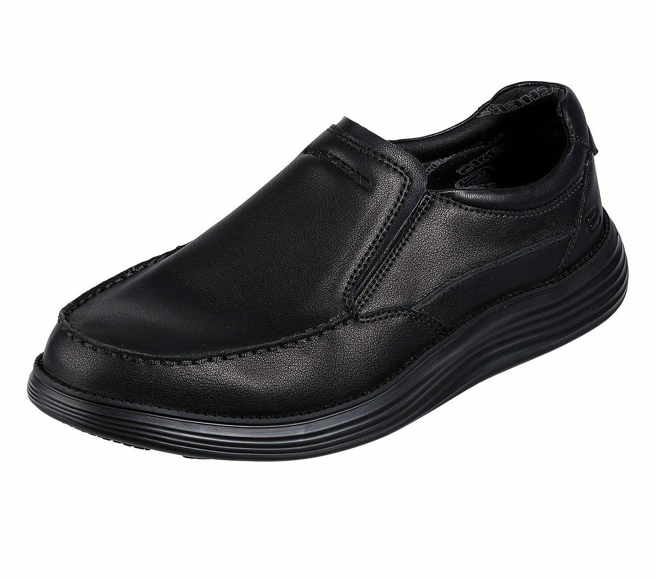 black shoes men memory foam slip on