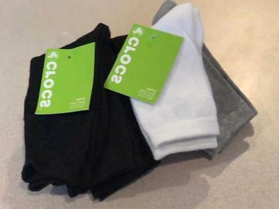 Crocs Boys Black Crew socks  size 3-8 or 9-3   NWT