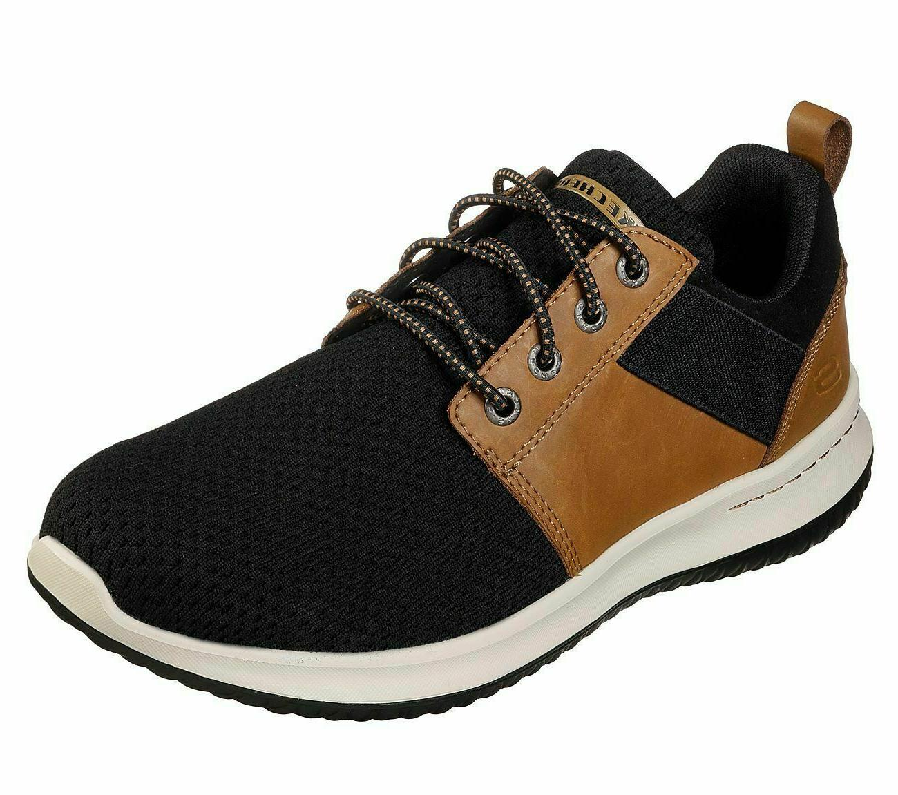 Brown Black Skechers Shoes Wide Fit Men Memory Foam Comfort