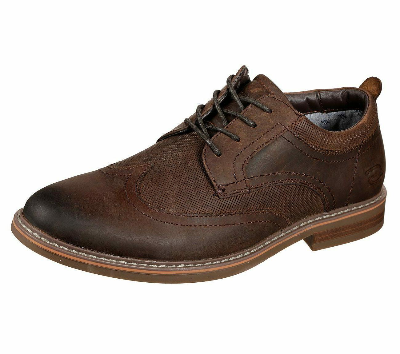 brown shoes men memory foam wing tip