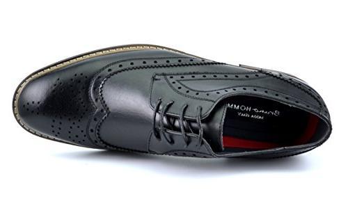 PRINCE Men's Modern Oxford Wingtip Shoes,PRINCE-3-BLACK,8.5