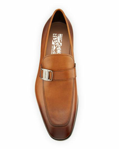 Salvatore Ferragamo Burnished Buckle Loafers Dress Shoes Brown
