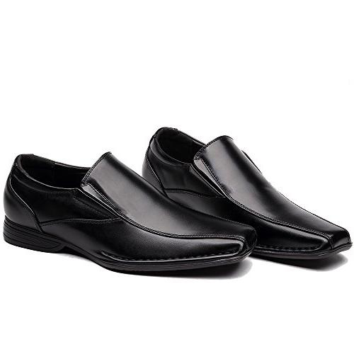OUOUVALLEY On Leather Modern Loafer Shoes Black)