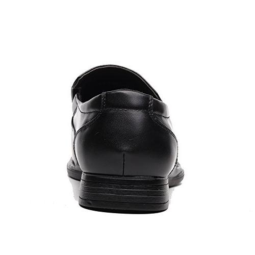 OUOUVALLEY Formal Slip On Leather Loafer Black)